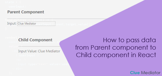 How to pass data from Parent component to Child component in React - Clue Mediator