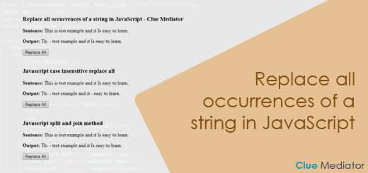 Replace all occurrences of a string in JavaScript - Clue Mediator