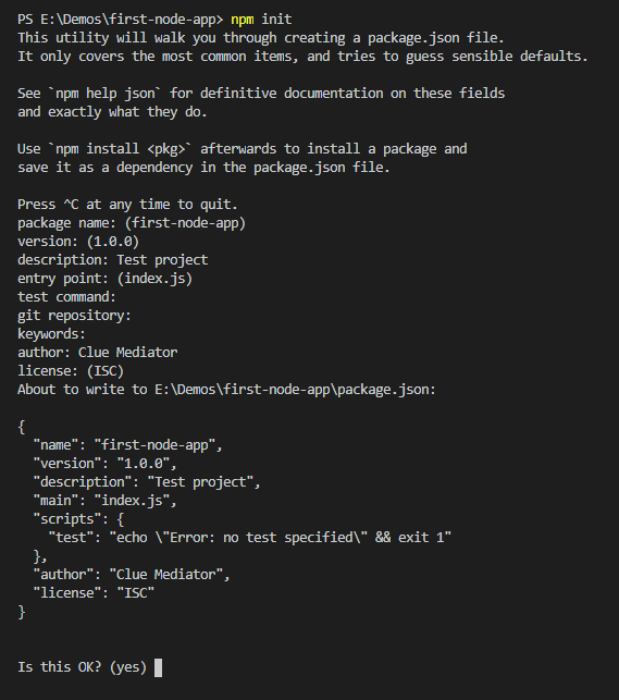 npm init - Create REST API in Node.js - Clue Mediator