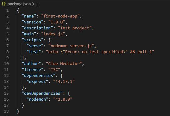package.json - Create REST API in Node.js - Clue Mediator