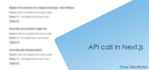 API call in Next.js - Clue Mediator