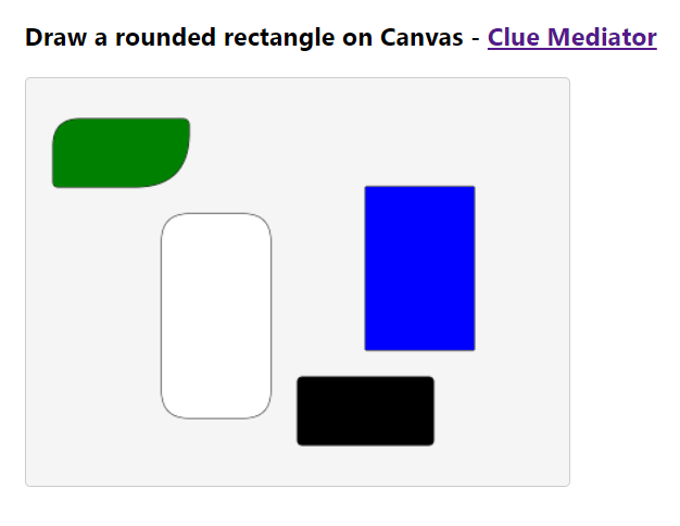 Output - Draw a rounded Rectangle on Canvas using React - Clue Mediator