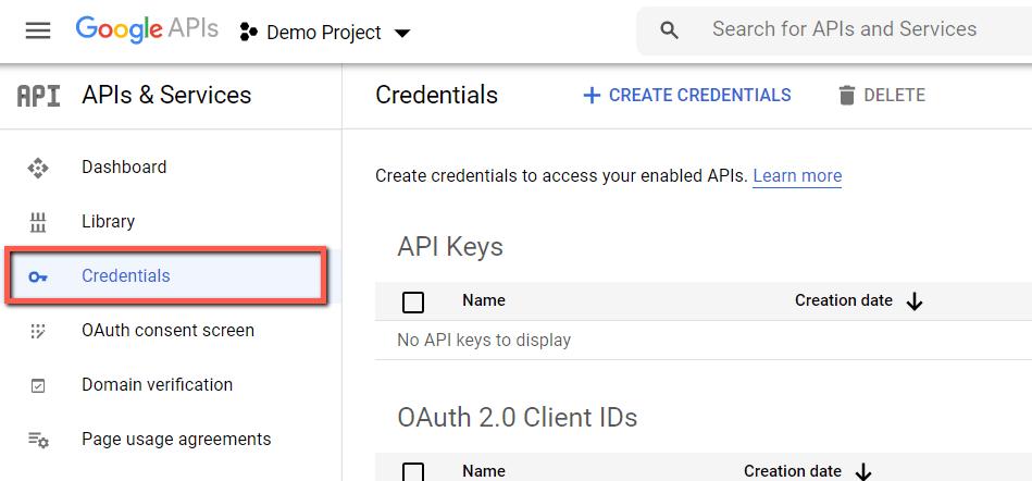 Google API Console - Clue Mediator