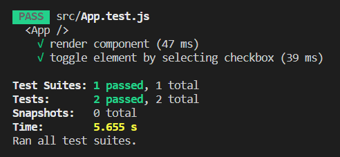 Output - Check a Checkbox using React Testing Library - Clue Mediator