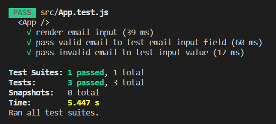 Output - Test an input field using the React Testing Library - Clue Mediator