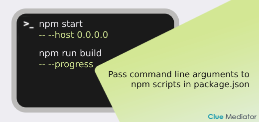Pass command line arguments to npm scripts in package.json - Clue Mediator