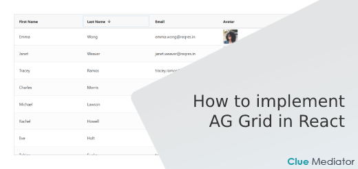 How to implement AG Grid in React - Clue Mediator